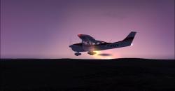 Avion au soleil couchant
